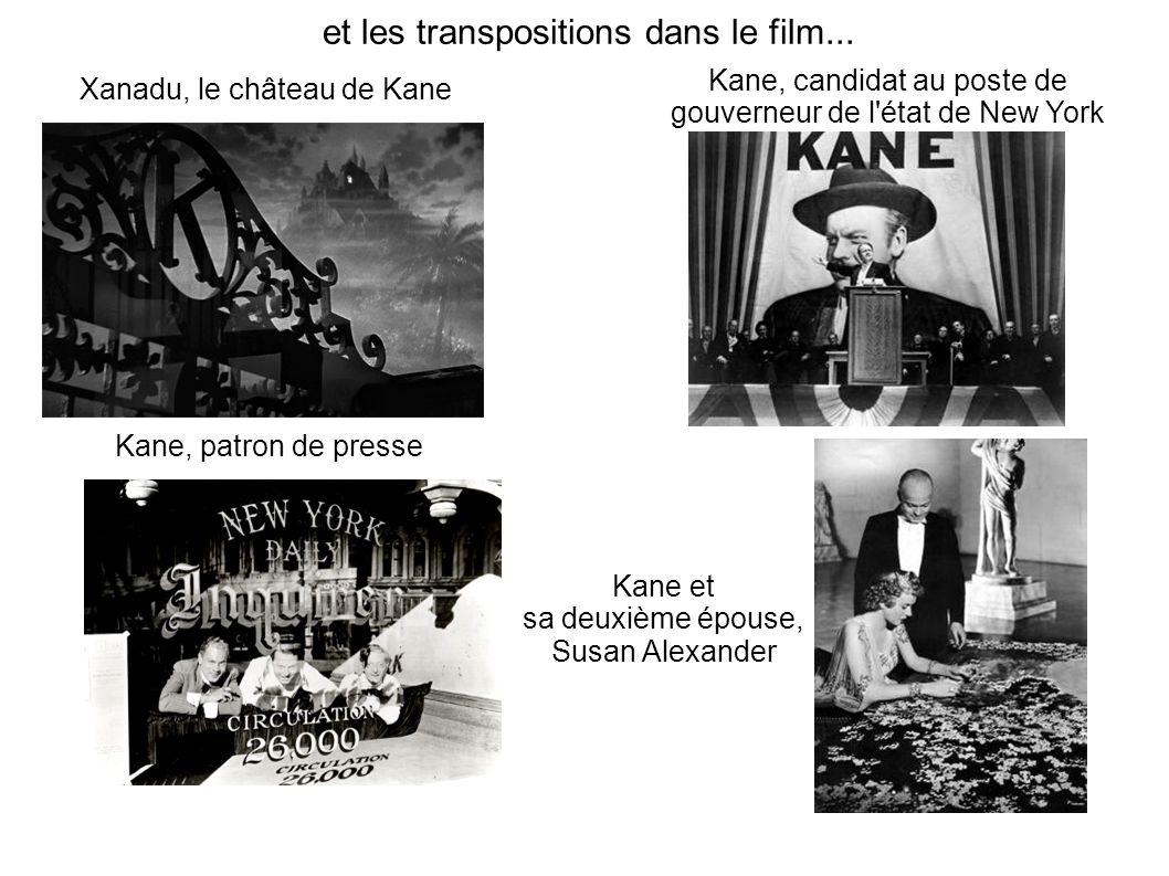 et les transpositions dans le film... Kane, patron de presse Xanadu, le château de Kane Kane, candidat au poste de gouverneur de l'état de New York Ka