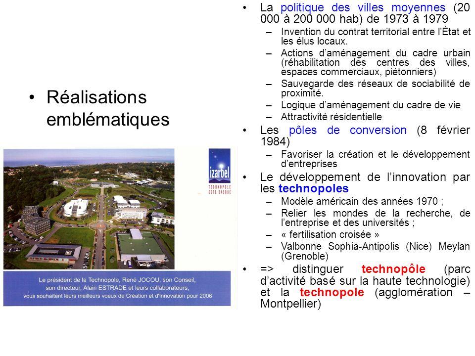 Réalisations emblématiques La politique des villes moyennes (20 000 à 200 000 hab) de 1973 à 1979 – Invention du contrat territorial entre lÉtat et le