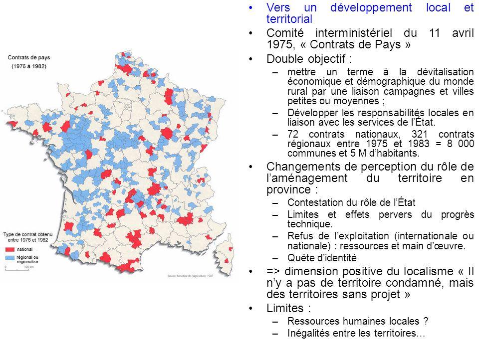 Réalisations emblématiques La politique des villes moyennes (20 000 à 200 000 hab) de 1973 à 1979 – Invention du contrat territorial entre lÉtat et les élus locaux.