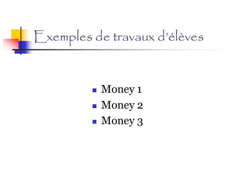 Exemples de travaux délèves Money 1 Money 2 Money 3