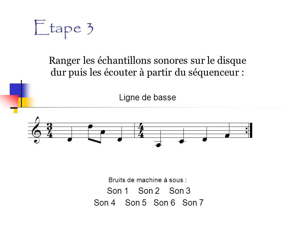 Etape 3 Ranger les échantillons sonores sur le disque dur puis les écouter à partir du séquenceur : Ligne de basse Bruits de machine à sous : Son 1 So