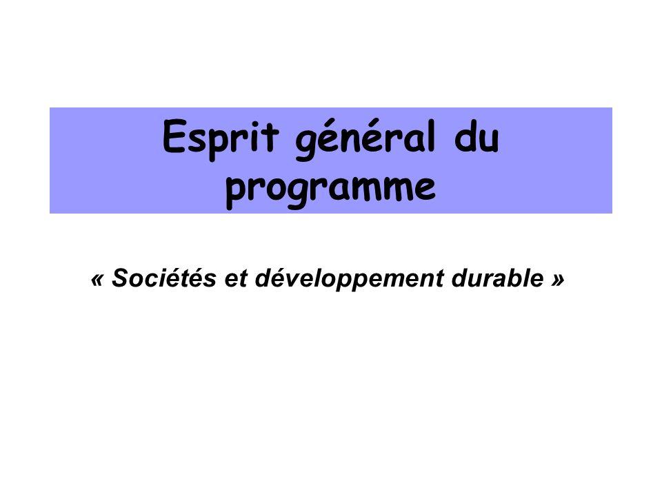 Esprit général du programme « Sociétés et développement durable »