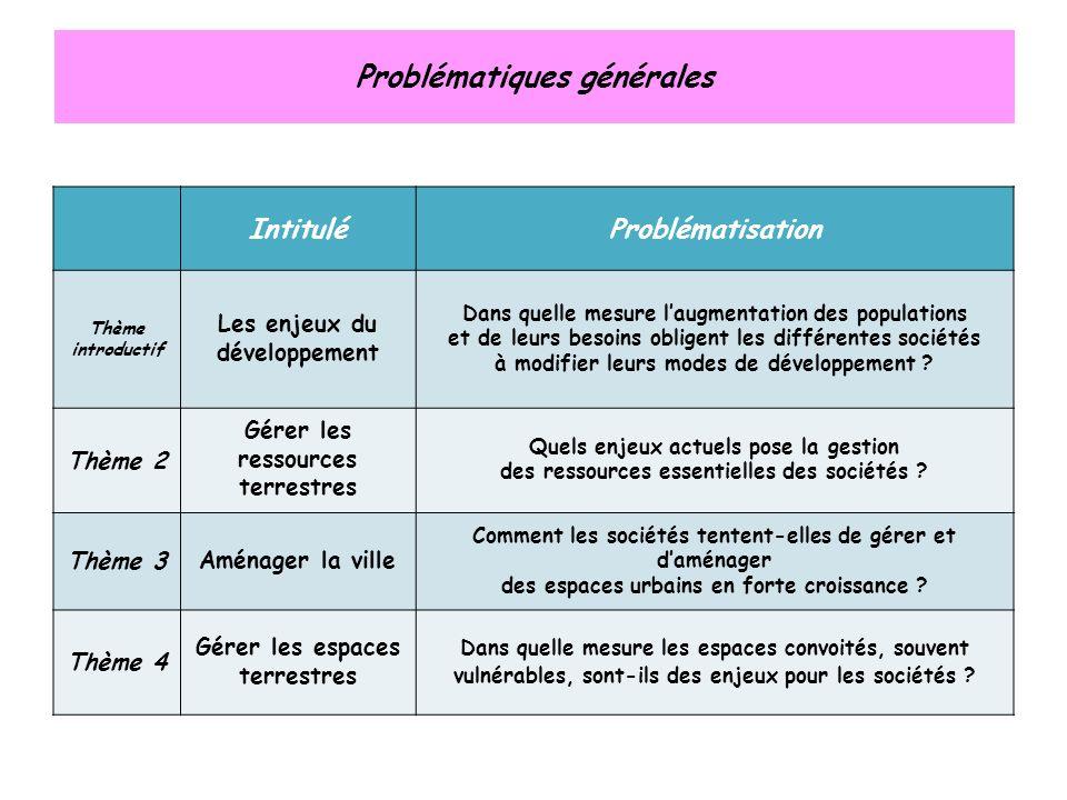 Problématiques générales IntituléProblématisation Thème introductif Les enjeux du développement Dans quelle mesure laugmentation des populations et de leurs besoins obligent les différentes sociétés à modifier leurs modes de développement .