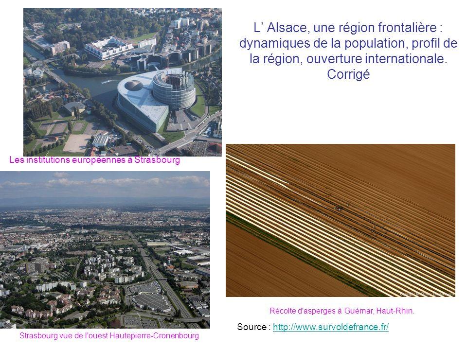 L Alsace, une région frontalière : dynamiques de la population, profil de la région, ouverture internationale. Corrigé Récolte d'asperges à Guémar, Ha