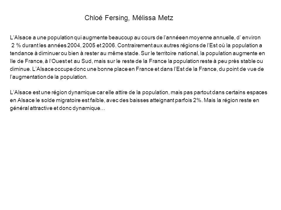 Chloé Fersing, Mélissa Metz LAlsace a une population qui augmente beaucoup au cours de lannéeen moyenne annuelle, d environ 2 % durant les années 2004