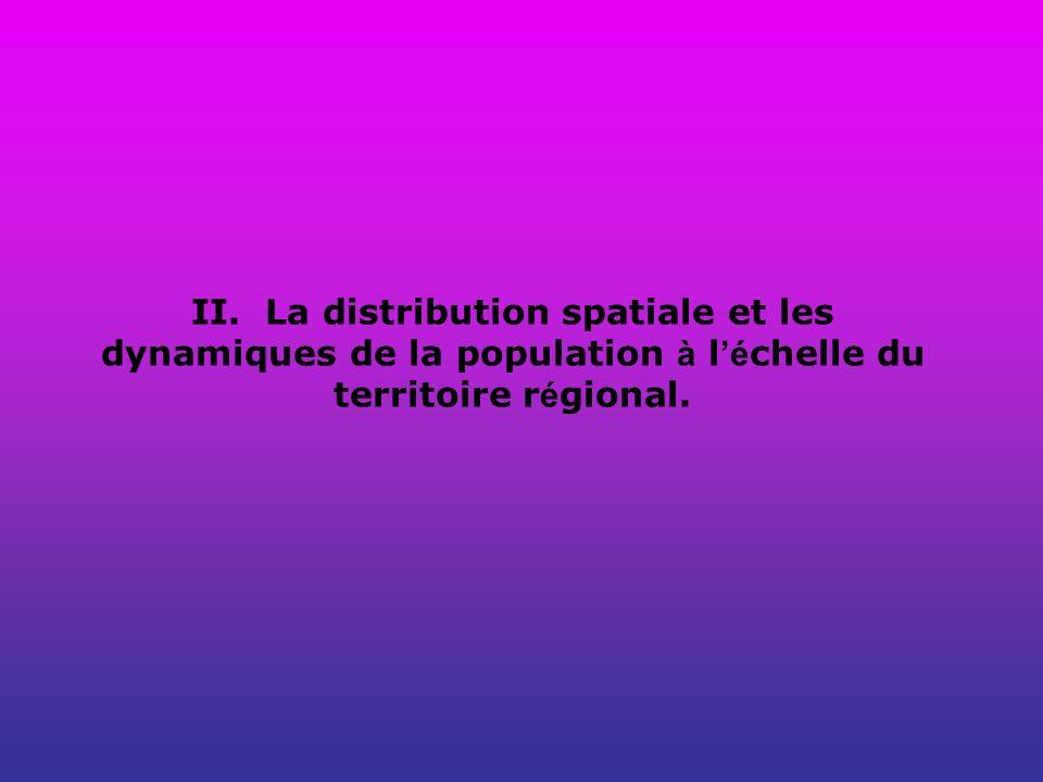 II. La distribution spatiale et les dynamiques de la population à l é chelle du territoire r é gional.