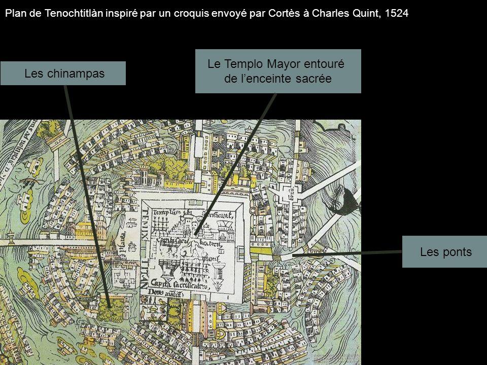Plan de Tenochtitlàn inspiré par un croquis envoyé par Cortès à Charles Quint, 1524 Le Templo Mayor entouré de lenceinte sacrée Les chinampas Les pont