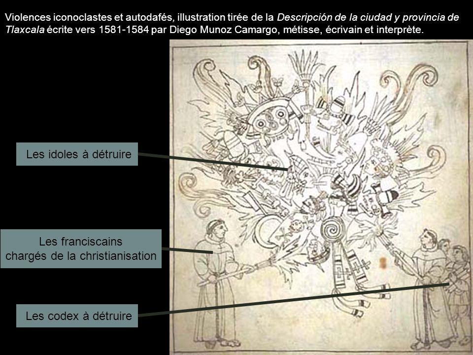 Violences iconoclastes et autodafés, illustration tirée de la Descripción de la ciudad y provincia de Tlaxcala écrite vers 1581-1584 par Diego Munoz C