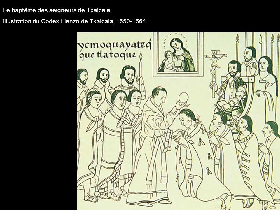 Le baptême des seigneurs de Txalcala illustration du Codex Lienzo de Txalcala, 1550-1564