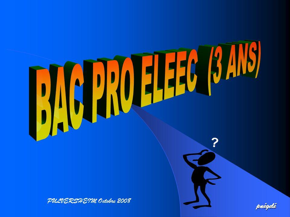 BAC PRO ELEEC EL EL = E E = C C = ELectrotechnique Energie Equipements Communicants