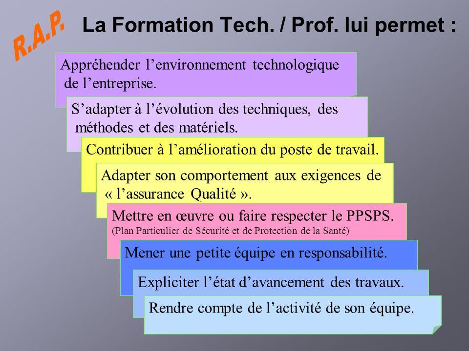 La Formation Tech. / Prof. lui permet : Appréhender lenvironnement technologique de lentreprise. Sadapter à lévolution des techniques, des méthodes et
