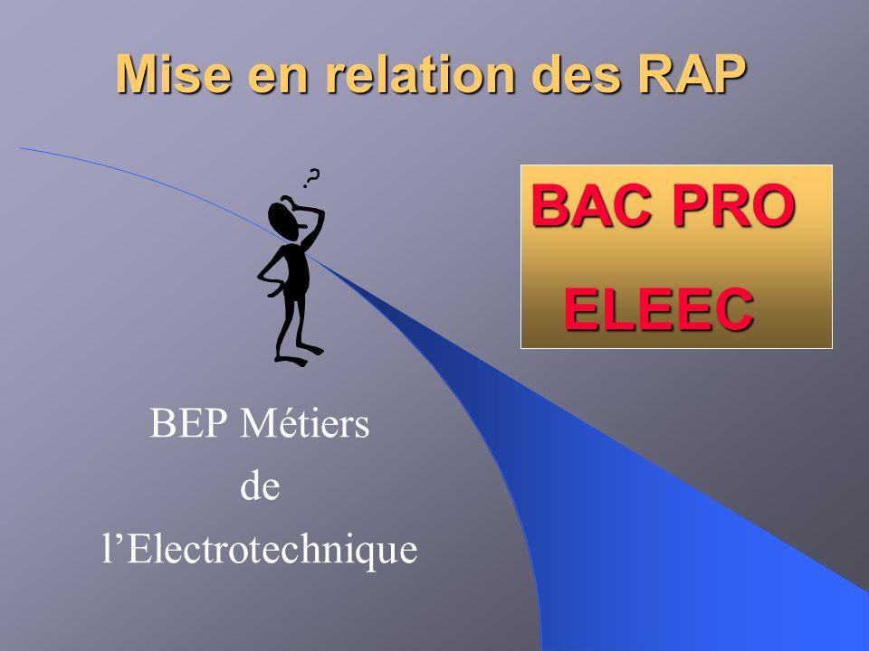 Mise en relation des RAP BEP Métiers de lElectrotechnique BAC PRO ELEEC