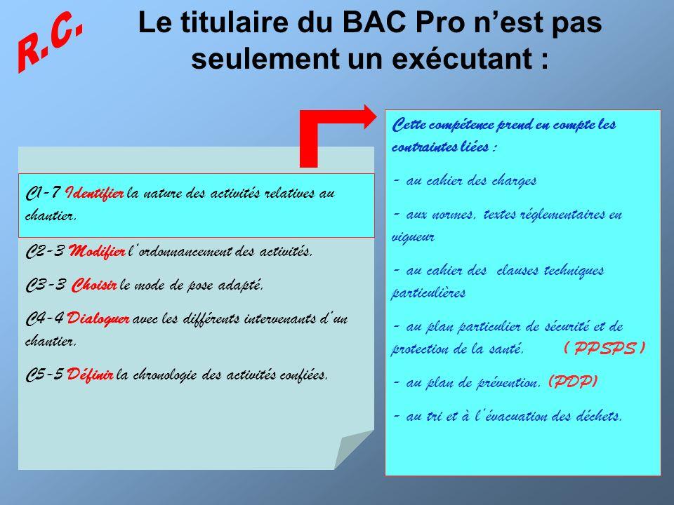 Le titulaire du BAC Pro nest pas seulement un exécutant : C2-3 Modifier lordonnancement des activités. C3-3 Choisir le mode de pose adapté. C4-4 Dialo