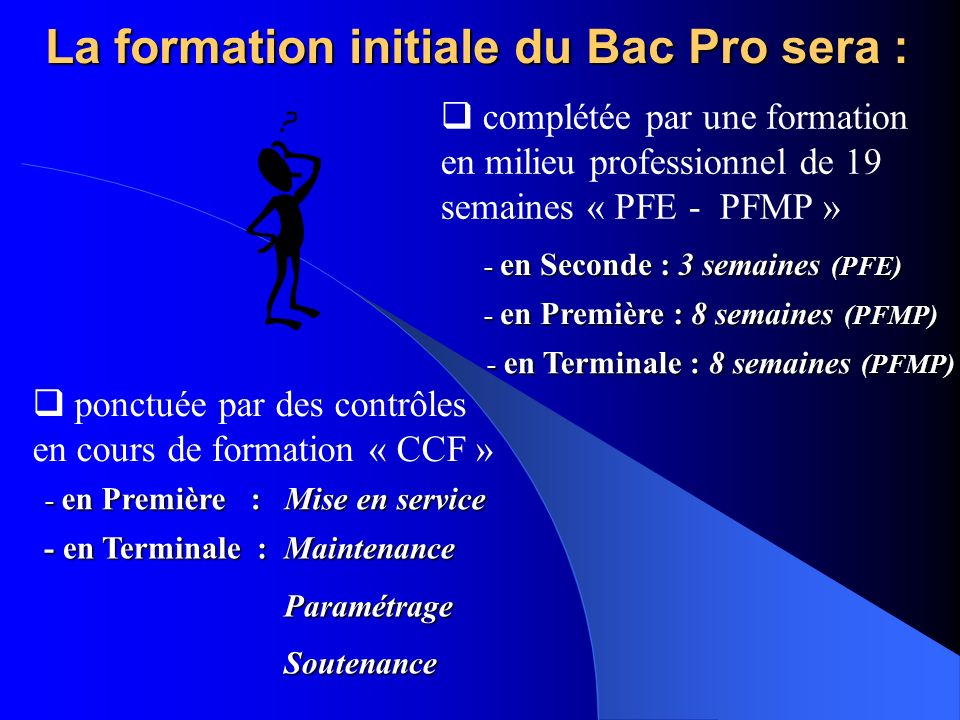 La formation initiale du Bac Pro sera : - en Première : Mise en service - en Première : Mise en service - en Terminale : Maintenance Paramétrage Paramétrage Soutenance Soutenance - en Seconde : 3 semaines (PFE) - en Seconde : 3 semaines (PFE) - en Première : 8 semaines (PFMP) - en Première : 8 semaines (PFMP) - en Terminale : 8 semaines (PFMP) - en Terminale : 8 semaines (PFMP) complétée par une formation en milieu professionnel de 19 semaines « PFE - PFMP » ponctuée par des contrôles en cours de formation « CCF »