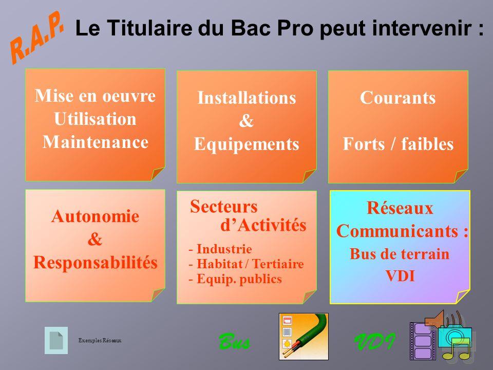 Réseaux Communicants : Bus de terrain VDI Mise en oeuvre Utilisation Maintenance Installations & Equipements Courants Forts / faibles Autonomie & Resp