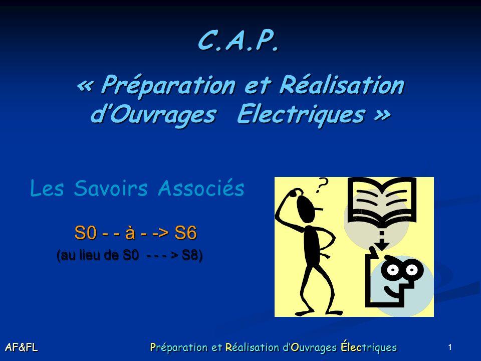 1 Les Savoirs Associés C.A.P. « Préparation et Réalisation dOuvrages Electriques » S0 - - à - -> S6 (au lieu de S0 - - - > S8) AF&FL Préparation et Ré
