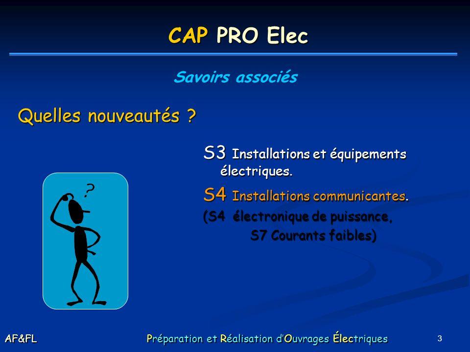 3 S3 Installations et équipements électriques. S4 Installations communicantes. (S4 électronique de puissance, S7 Courants faibles) CAP PRO Elec Savoir