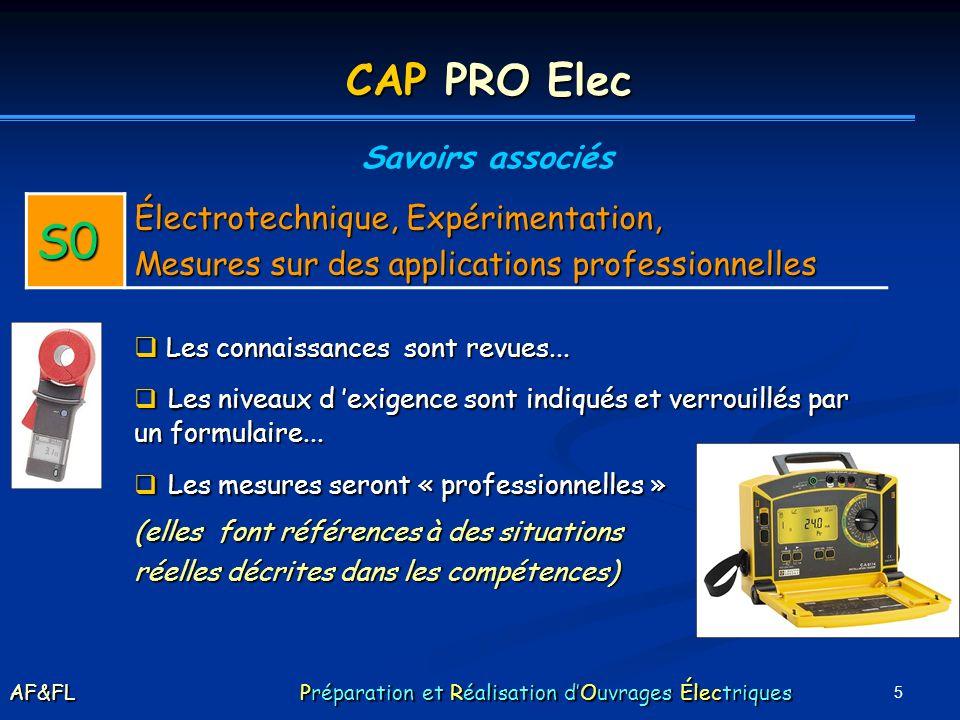 5 CAP PRO Elec Savoirs associés S0 Électrotechnique, Expérimentation, Mesures sur des applications professionnelles Les connaissances sont revues... L