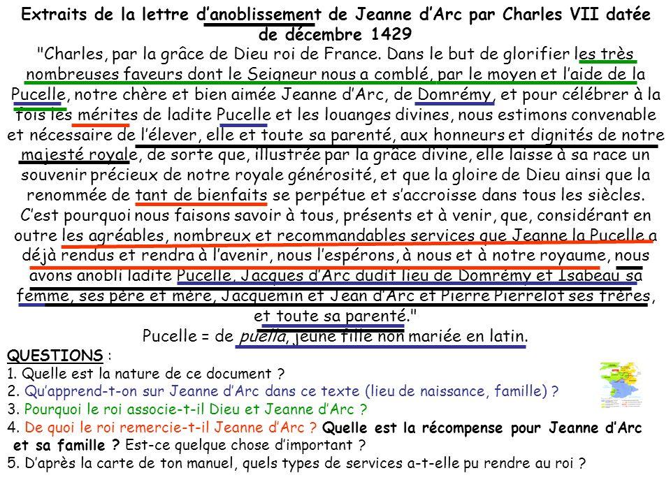 Extraits de la lettre danoblissement de Jeanne dArc par Charles VII datée de décembre 1429 Charles, par la grâce de Dieu roi de France.