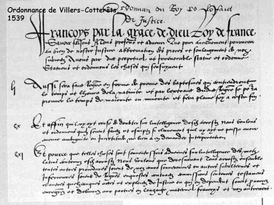 Ordonnance de Villers-Cotterêts, 1539