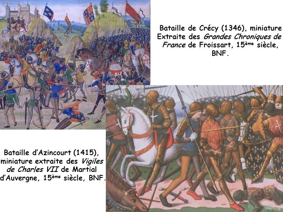 Bataille de Crécy (1346), miniature Extraite des Grandes Chroniques de France de Froissart, 15 ème siècle, BNF.