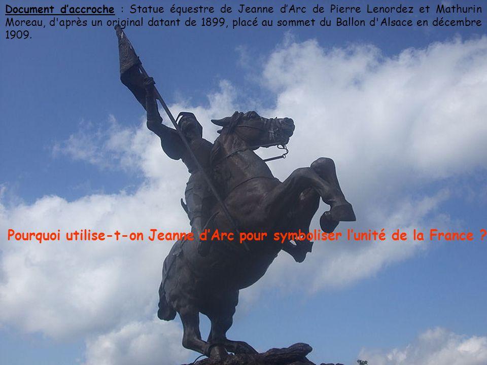 Document daccroche : Statue équestre de Jeanne dArc de Pierre Lenordez et Mathurin Moreau, d après un original datant de 1899, placé au sommet du Ballon d Alsace en décembre 1909.