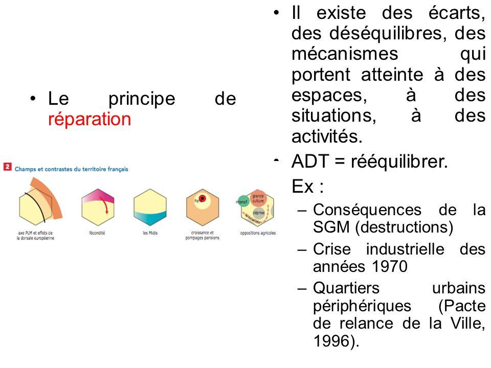 Le principe de réparation Il existe des écarts, des déséquilibres, des mécanismes qui portent atteinte à des espaces, à des situations, à des activités.