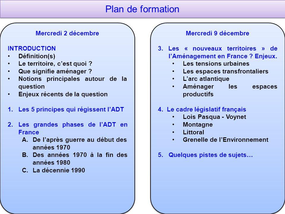 Plan de formation Mercredi 2 décembre INTRODUCTION Définition(s) Le territoire, cest quoi .