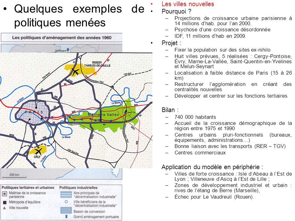 Quelques exemples de politiques menées Les villes nouvelles Pourquoi .