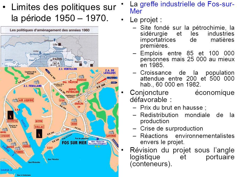 Limites des politiques sur la période 1950 – 1970.