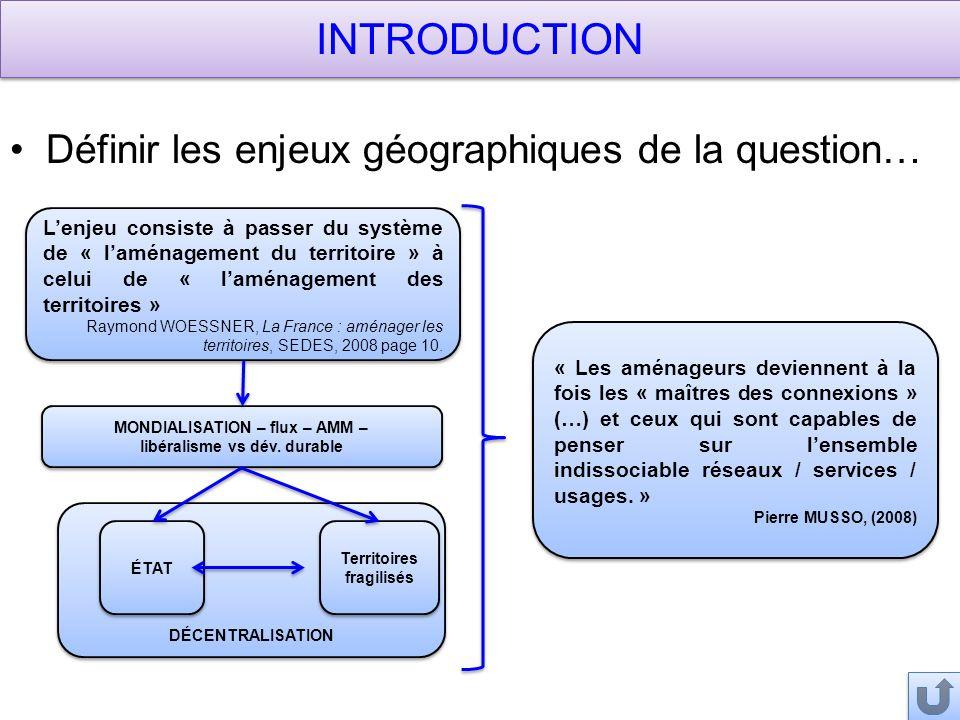 DÉCENTRALISATION Lenjeu consiste à passer du système de « laménagement du territoire » à celui de « laménagement des territoires » Raymond WOESSNER, La France : aménager les territoires, SEDES, 2008 page 10.