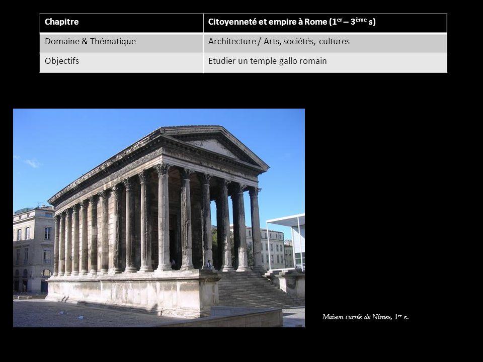 ChapitreCitoyenneté et empire à Rome (1 er – 3 ème s) Domaine & ThématiqueArchitecture / Arts, sociétés, cultures ObjectifsEtudier un temple gallo rom