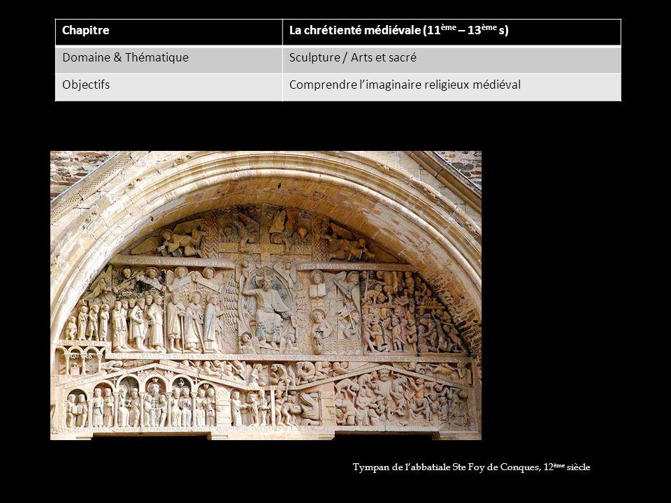 ChapitreLa chrétienté médiévale (11 ème – 13 ème s) Domaine & ThématiqueSculpture / Arts et sacré ObjectifsComprendre limaginaire religieux médiéval T