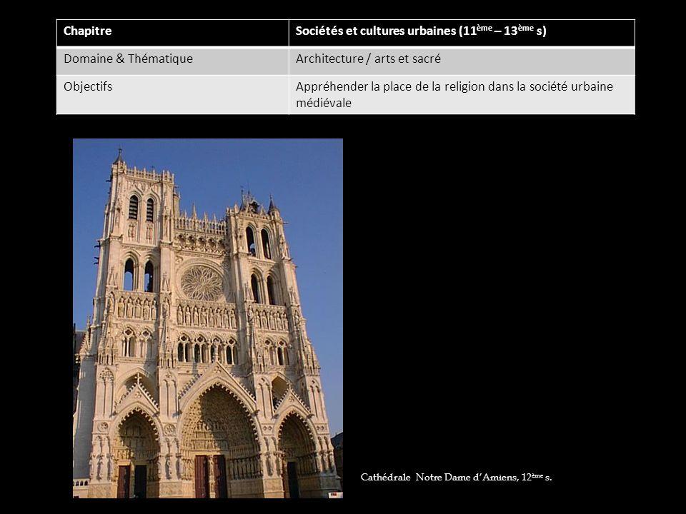 ChapitreSociétés et cultures urbaines (11 ème – 13 ème s) Domaine & ThématiqueArchitecture / arts et sacré ObjectifsAppréhender la place de la religio
