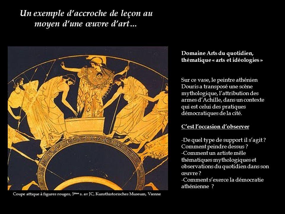 Un exemple daccroche de leçon au moyen dune œuvre dart… Coupe attique à figures rouges, 5 ème s. av JC, Kunsthistorisches Museum, Vienne Domaine Arts