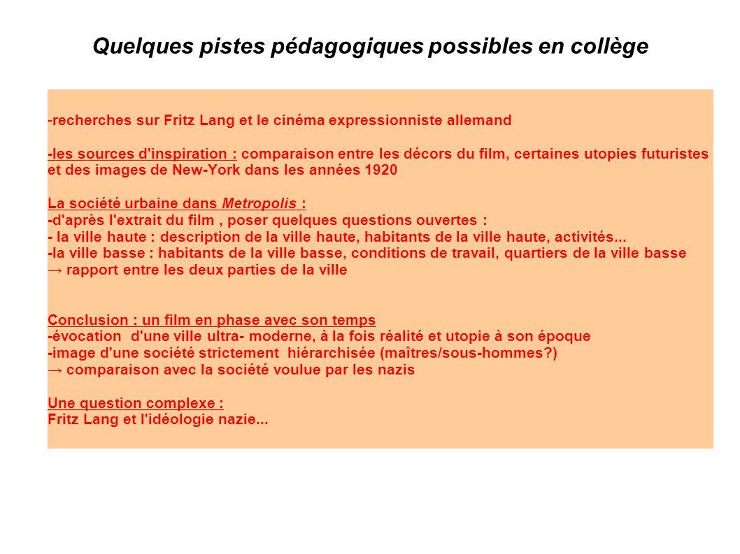 Quelques pistes pédagogiques possibles en collège -recherches sur Fritz Lang et le cinéma expressionniste allemand -les sources d'inspiration : compar