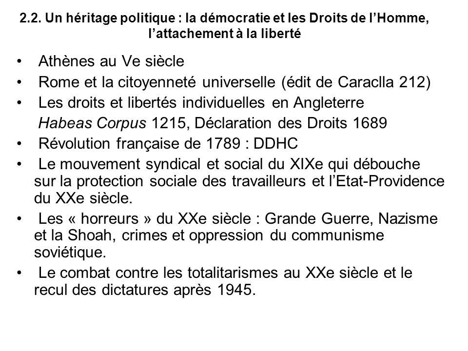 2.2. Un héritage politique : la démocratie et les Droits de lHomme, lattachement à la liberté Athènes au Ve siècle Rome et la citoyenneté universelle