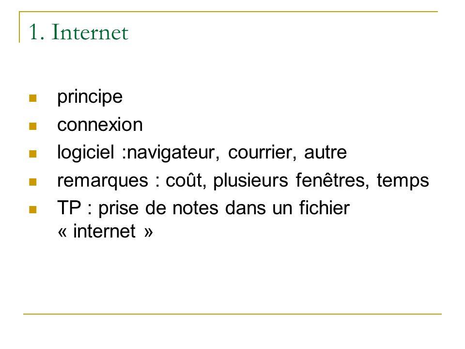 1. Internet principe connexion logiciel :navigateur, courrier, autre remarques : coût, plusieurs fenêtres, temps TP : prise de notes dans un fichier «
