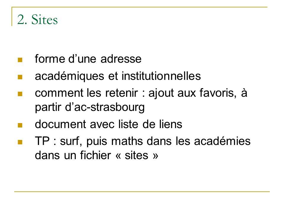 2. Sites forme dune adresse académiques et institutionnelles comment les retenir : ajout aux favoris, à partir dac-strasbourg document avec liste de l