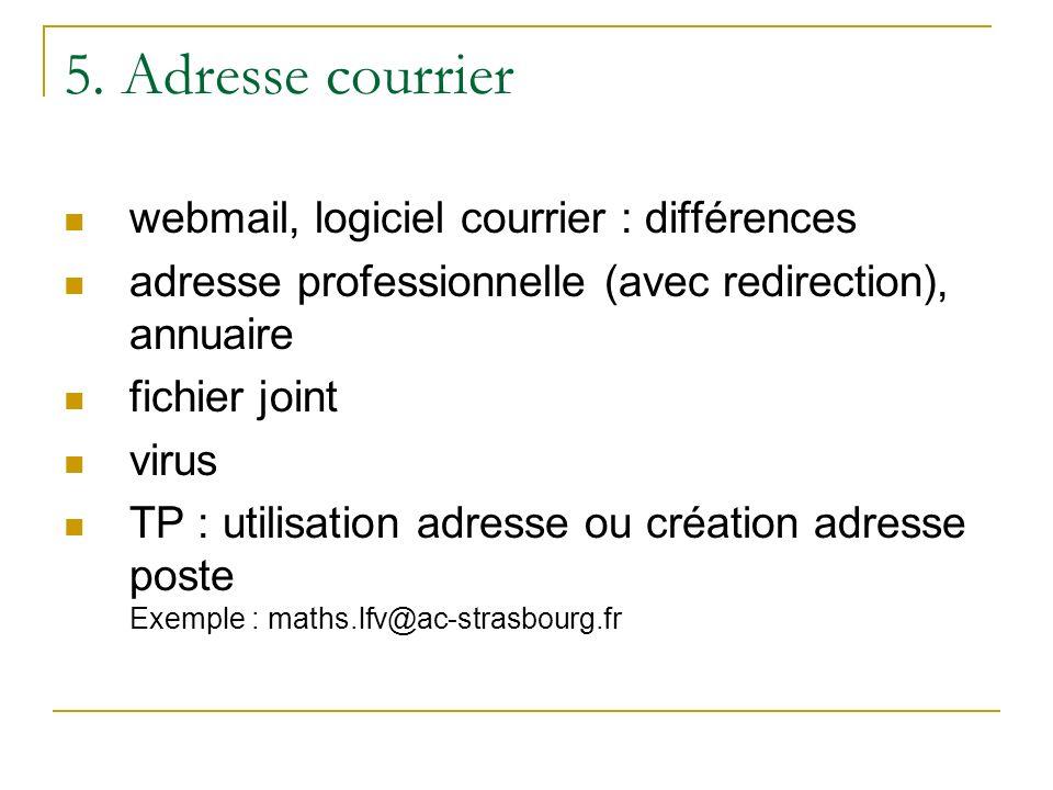 5. Adresse courrier webmail, logiciel courrier : différences adresse professionnelle (avec redirection), annuaire fichier joint virus TP : utilisation