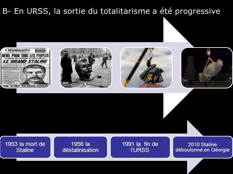 B- En URSS, la sortie du totalitarisme a été progressive