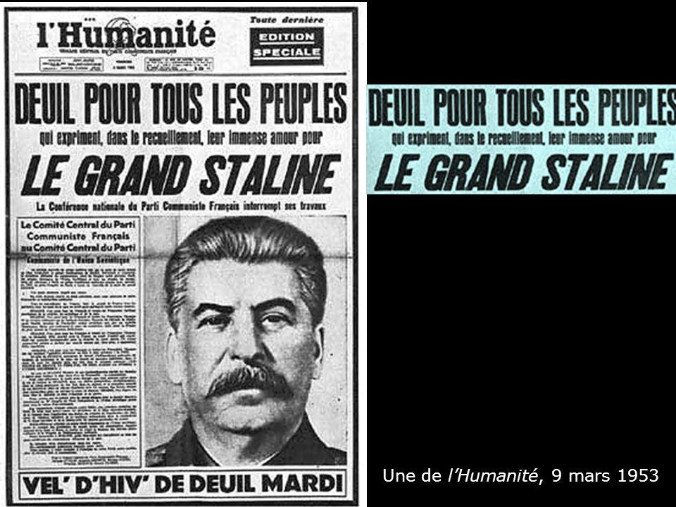 Une de lHumanité, 9 mars 1953