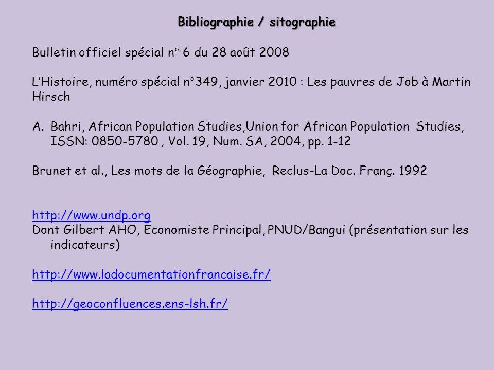 Bibliographie / sitographie Bulletin officiel spécial n° 6 du 28 août 2008 LHistoire, numéro spécial n°349, janvier 2010 : Les pauvres de Job à Martin