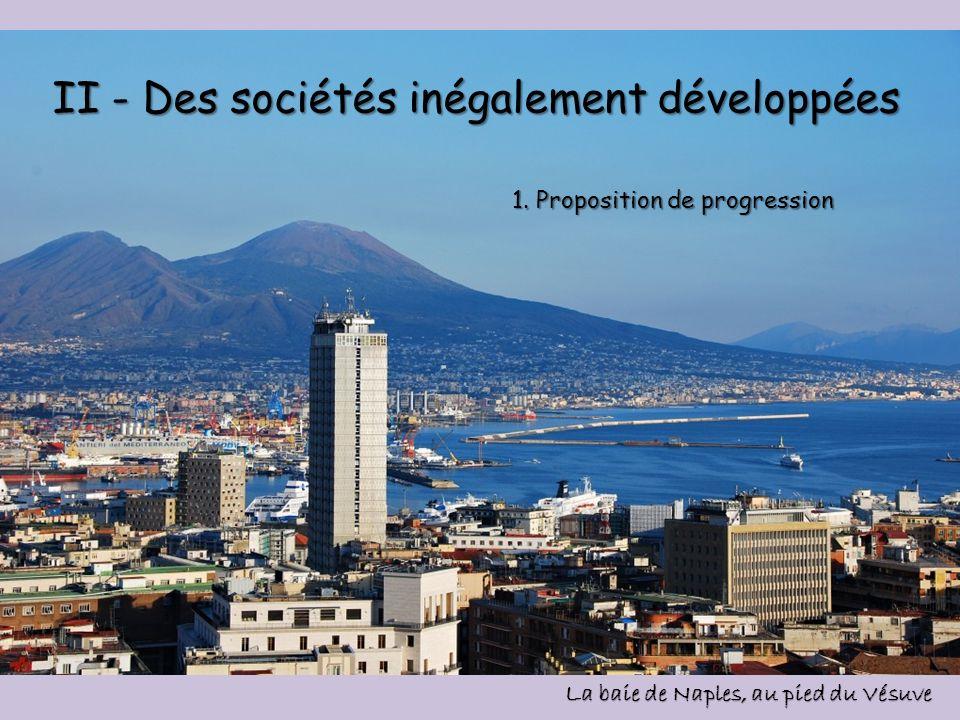 II - Des sociétés inégalement développées La baie de Naples, au pied du Vésuve 1. Proposition de progression