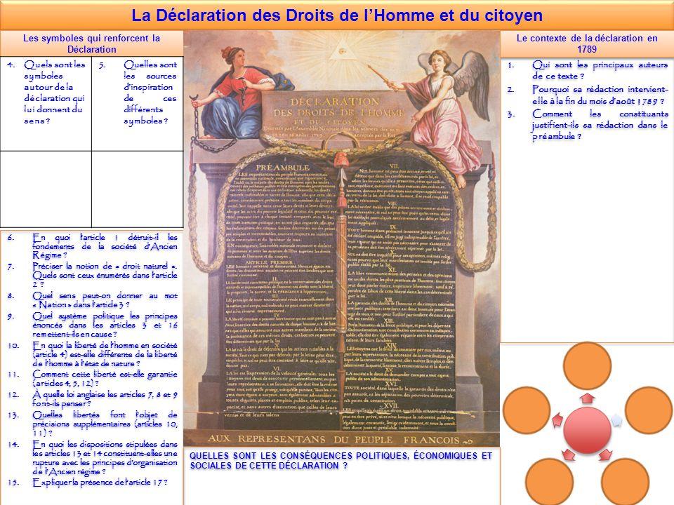 La Déclaration des Droits de lHomme et du citoyen Les symboles qui renforcent la Déclaration 6.En quoi larticle 1 détruit-il les fondements de la société dAncien Régime .