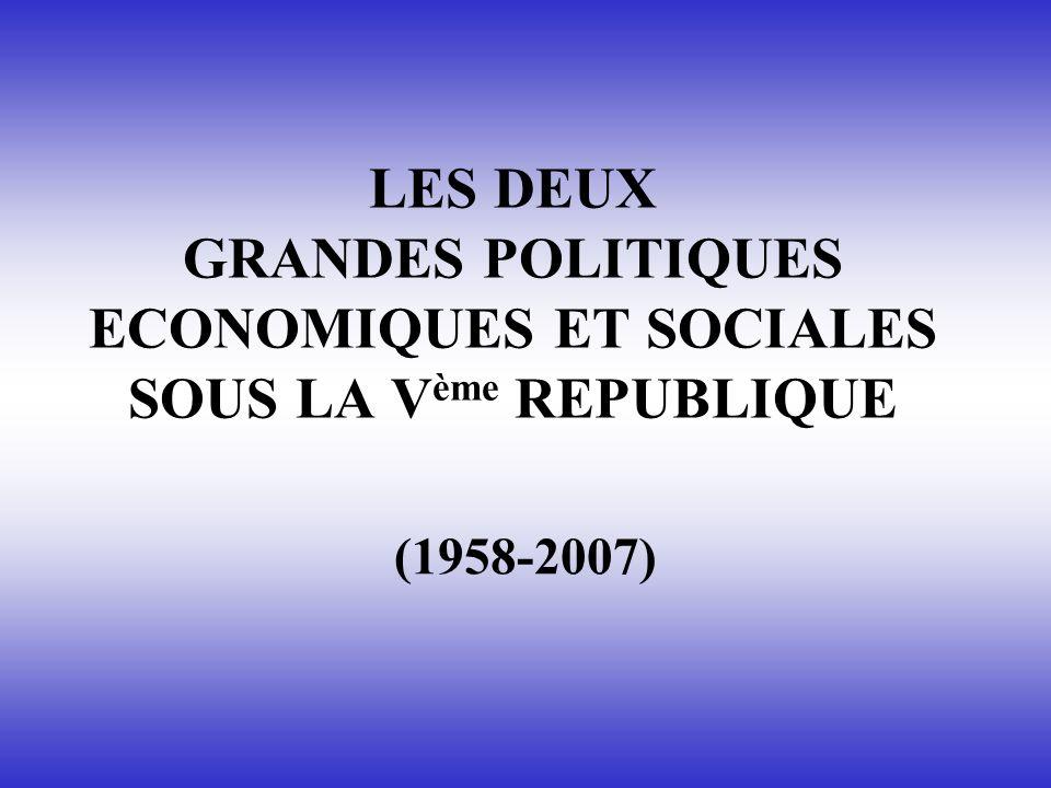 LES DEUX GRANDES POLITIQUES ECONOMIQUES ET SOCIALES SOUS LA V ème REPUBLIQUE (1958-2007)