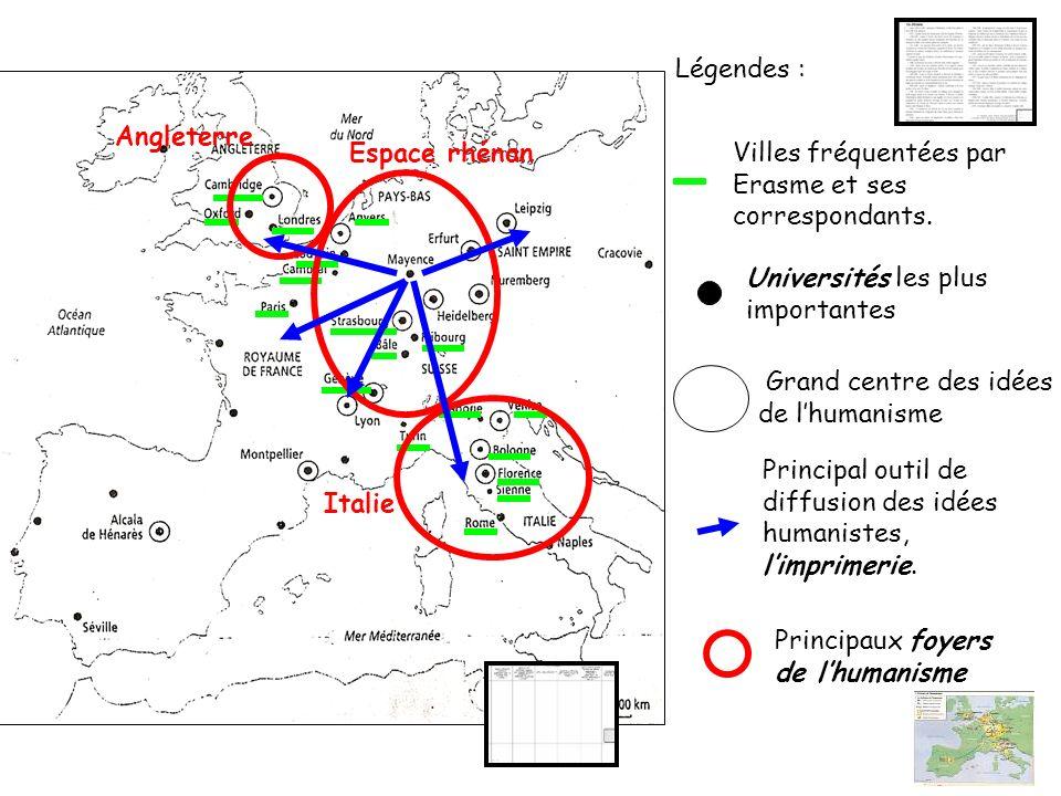 Légendes : Villes fréquentées par Erasme et ses correspondants.