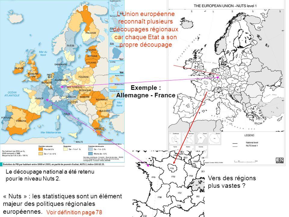 LUnion européenne reconnaît plusieurs découpages régionaux car chaque Etat a son propre découpage « Nuts » : les statistiques sont un élément majeur des politiques régionales européennes.