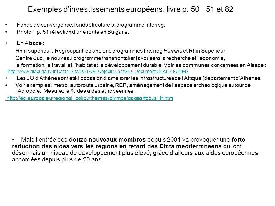 Exemples dinvestissements européens, livre p.