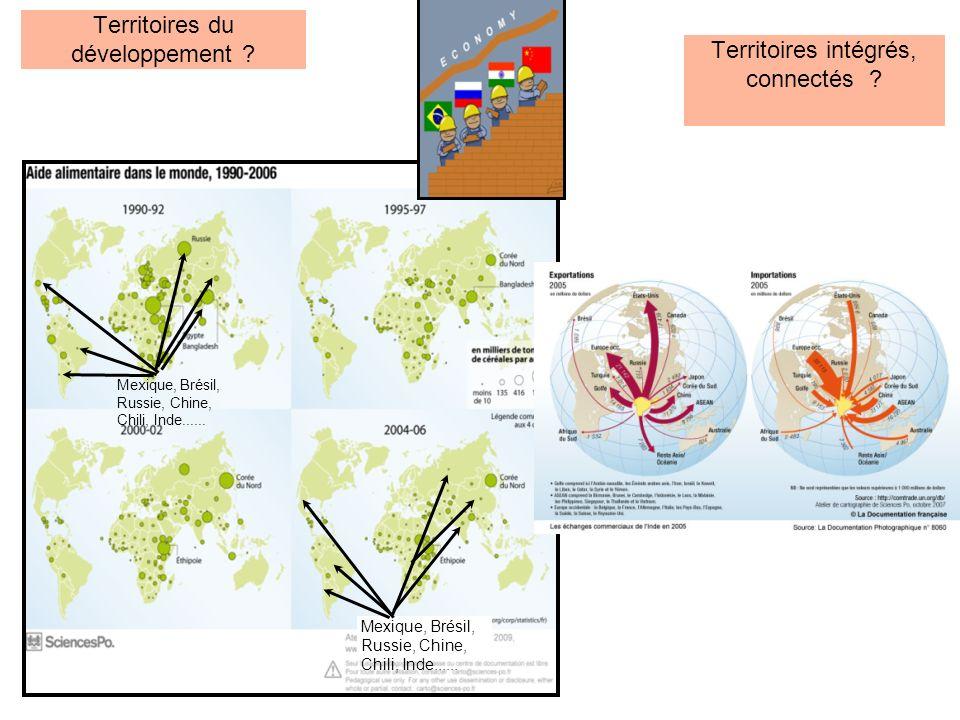 Territoires du développement ? Mexique, Brésil, Russie, Chine, Chili, Inde...... Territoires intégrés, connectés ?